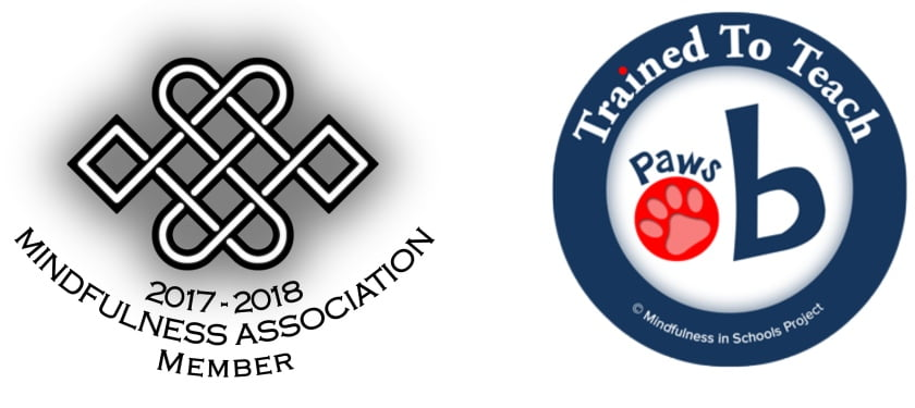 2016-2017 Mindfulness Association Membership logo, and paws b acceditation logo