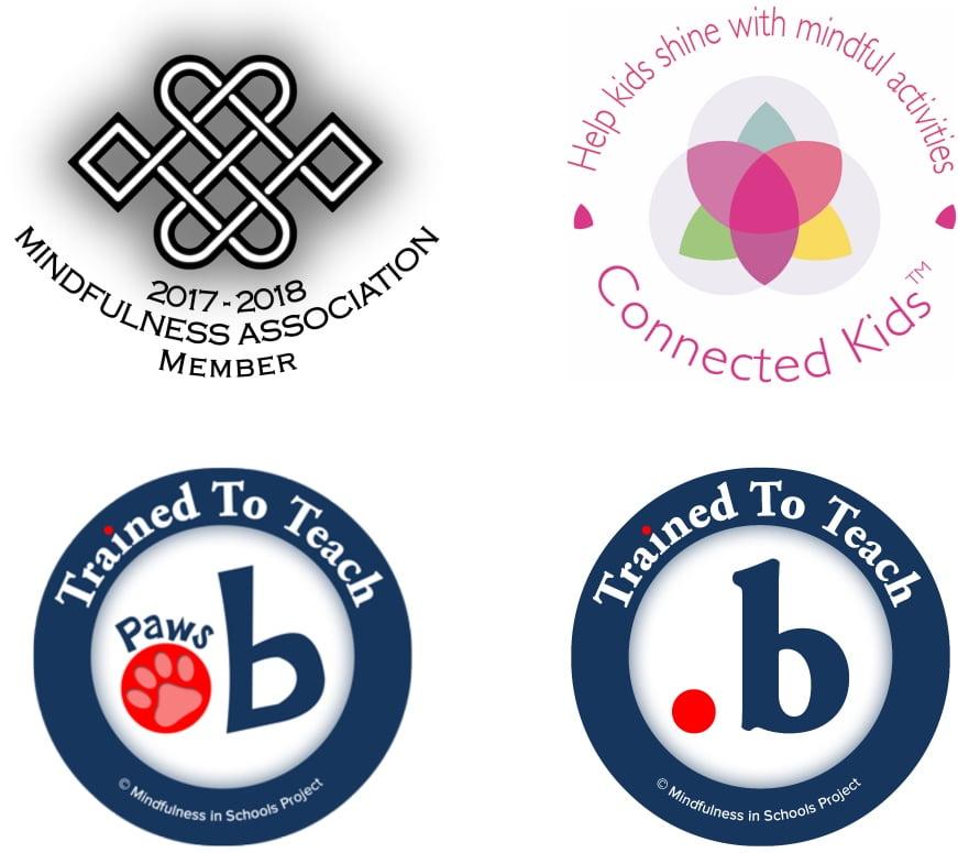 2017-2018 Mindfulness Association Membership logo, dot b and paws b acceditation logos, and Connected Kids TM logo 
