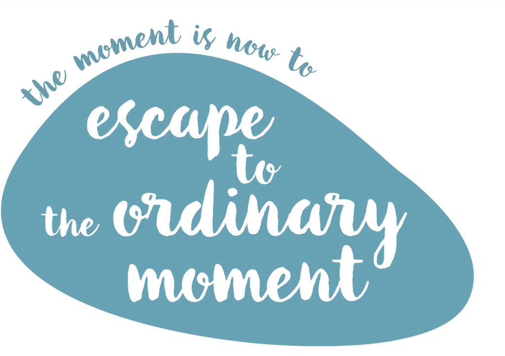 The pebble image says 'escape to the ordinary moment'