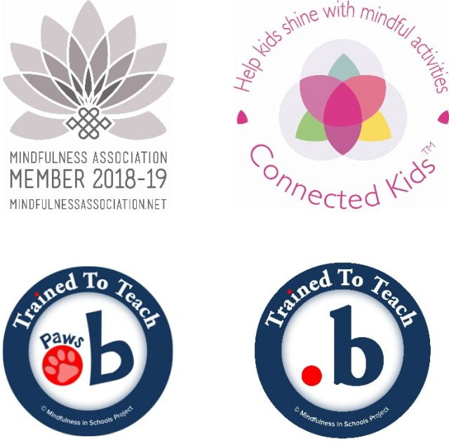 2018-2019 Mindfulness Association Membership logo, dot b and paws b accreditation logos, and Connected Kids TM logo