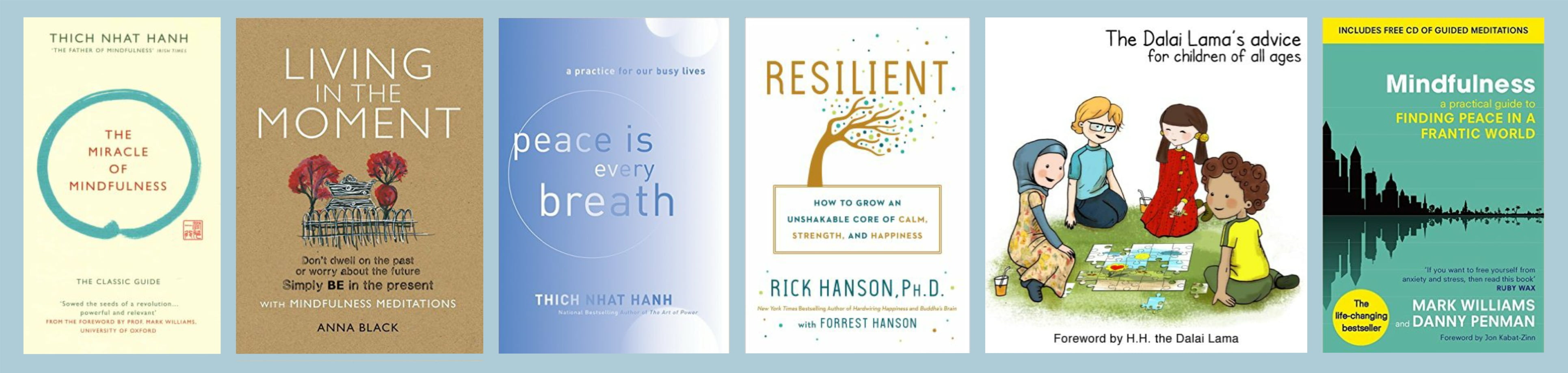 Covers of recommended mindfulness books