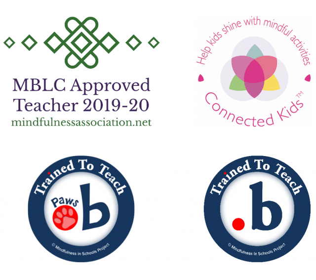 2019-2020 MBLC Approved Teacher logo, dot b and paws b accreditation logos, and Connected Kids TM logo