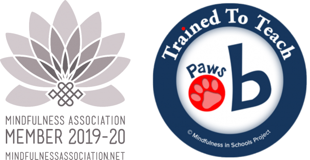 2019-2020 Mindfulness Association Membership logo, and paws b accreditation logo