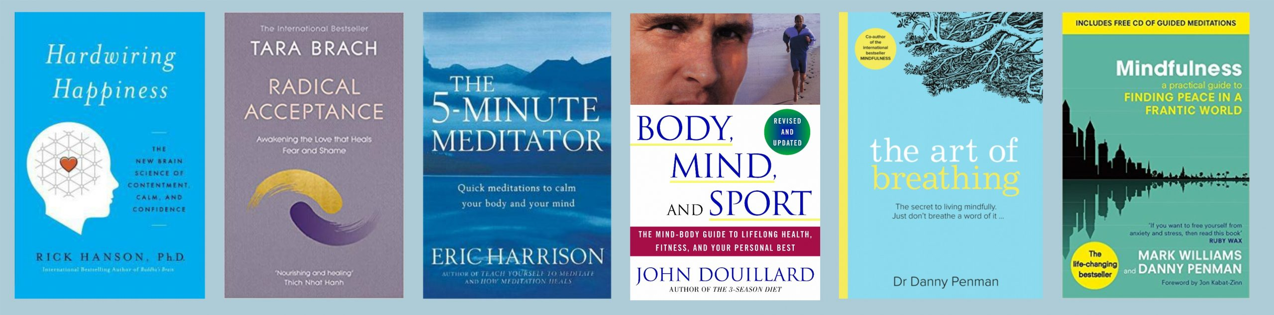 Front covers of mindfulness-related books recommended in this blog post