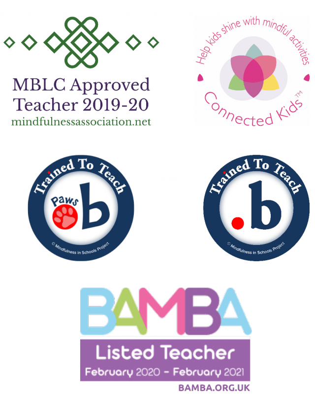 2019-2020 MBLC Approved Teacher logo, dot b and paws b accreditation logos, Connected Kids TM logo and BAMBA logo